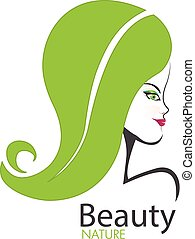 Logo beauty nature girl - Girl face with swirly leaf hair...