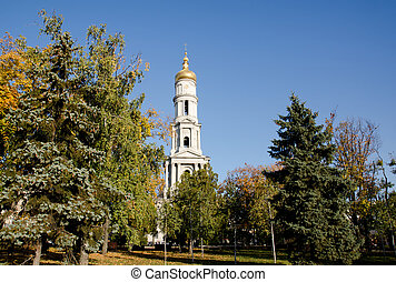 Cathedral of the Assumption in Kharkov, surrounded by trees...