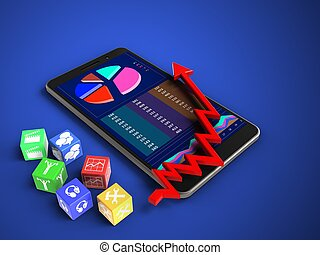 3d cubes - 3d illustration of mobile phone over blue...