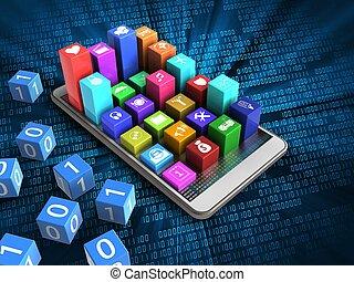 3d hex data - 3d illustration of white phone over digital...