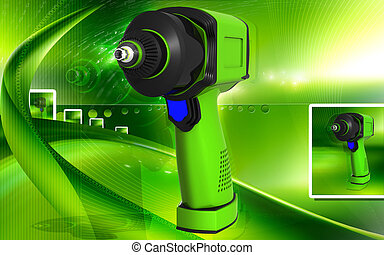 Impact wrench - Digital illustration of impact wrench in...