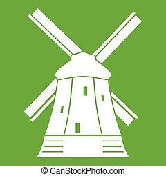 Mill icon green - Mill icon white isolated on green...
