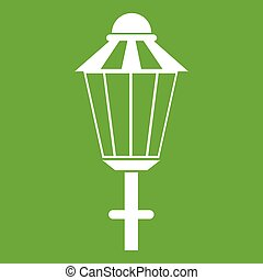 Street lamp icon green - Street lamp icon white isolated on...