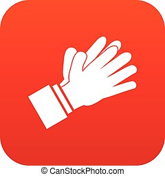 Clapping applauding hands icon digital red for any design...