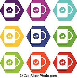 Cup of tea icon set color hexahedron - Cup of tea icon set...