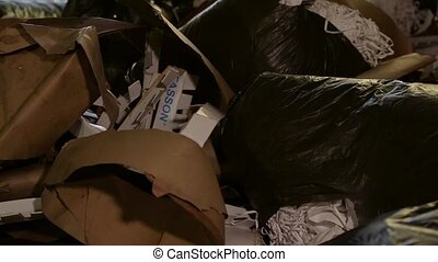 Large warehouse of waste paper in a factory. - Waste paper....
