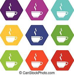 Glass cup of tea icon set color hexahedron - Glass cup of...
