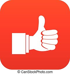 Thumb up gesture icon digital red for any design isolated on...