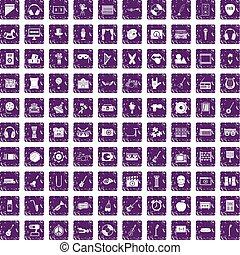 conjunto, grunge, iconos, púrpura, 100, educación, musical