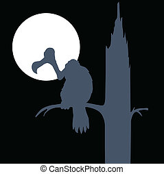 vulture on moon vector silhouettes