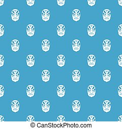 Tribal mask pattern seamless blue - Tribal mask pattern...