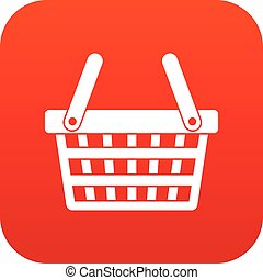 Shopping basket icon digital red for any design isolated on...
