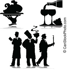 waiter vector silhouettes