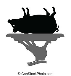 waiter brings roast pig vector black illustration