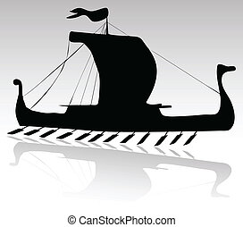 viking ship black vector silhouettes