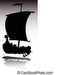 viking boat vector silhouettes