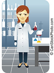 Scientist in a lab, holding a beaker