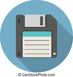 Magnetic floppy disc icon in flat style with long shadow,...