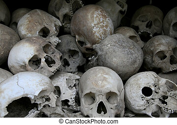Human skulls - Victims of the Cambodian Genocide in the...