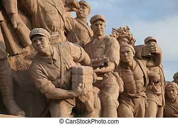 Communist monument on Tiananmen Square in Beijing, China