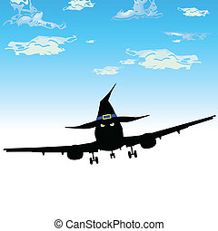 witch airplane vector illustration