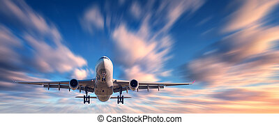 Airplane and beautiful sky with motion blur effect....