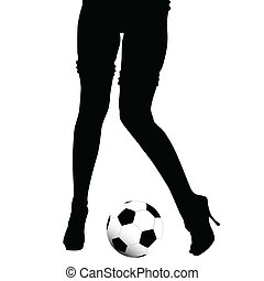 women legs and soccer ball on white background