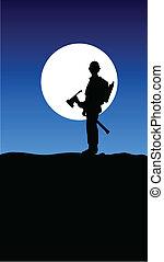 worker on moon illustration