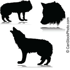 wolf vector silhouettes