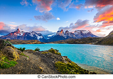 Torres del Paine over the Pehoe lake, Patagonia, Chile -...