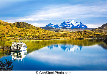 Torres del Paine national park, Pehoe lake, Patagonia, Chile...