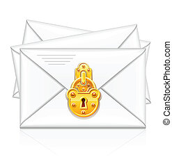 mail envelope with gold lock for protection