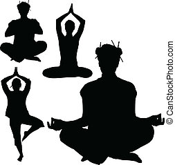 yoga vector silhouettes