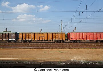 Freight Train Wagons - Freight train on the rails