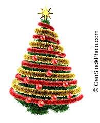 3d tinsel - 3d illustration of dark green Christmas tree...