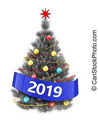 3d silver Christmas tree with 2019 sign - 3d illustration of...