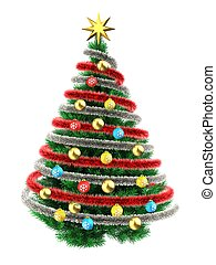 3d tinsel silver - 3d illustration of Christmas tree over...