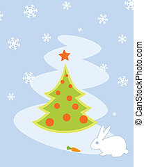 Christmas Tree Card With Rabbit