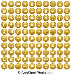100 lotus icons set gold - 100 lotus icons set in gold...
