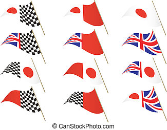 UK and Japanese Flag - Union Jack, Japanese and Chequered...