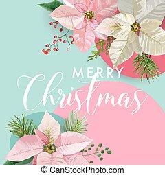Christmas Winter Poinsettia Flower Banner, Graphic...