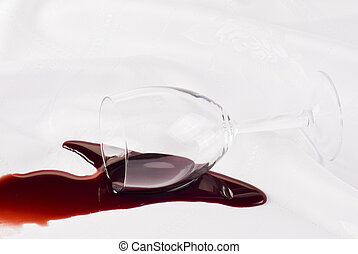 Overthrow glass of wine - Glass of wine overthrow on the...