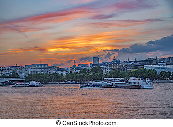 Sunset River Thames view with Somerset House in background....