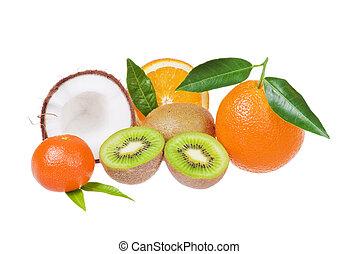 Exotic fruits - Fresh exotic fruits over white background