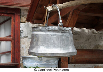 Traditional Bulgarian brass water bucket - Closeup picture...