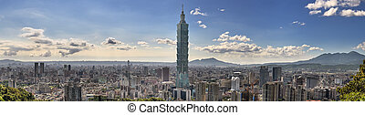 Taipei cityscape with famous landmark skyscraper and...