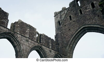 Looking Around Old Church Ruins - Panning shot of ancient...