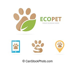 Set of paw logo combination. Pet and eco symbol or icon....