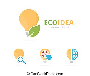 Set of lamp logo combination. Lightbulb and eco symbol or...