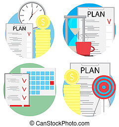 Planning and management of business set icons. Plan time,...